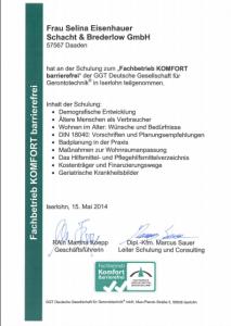 schacht-brederlow-mde-zertifikat-2014-selina-eisenhauer-fachbetrieb-komfort-barrierefrei-ggt