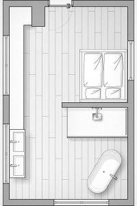 Bad und Schlafbereich sind optimal nebeneinander platziert.